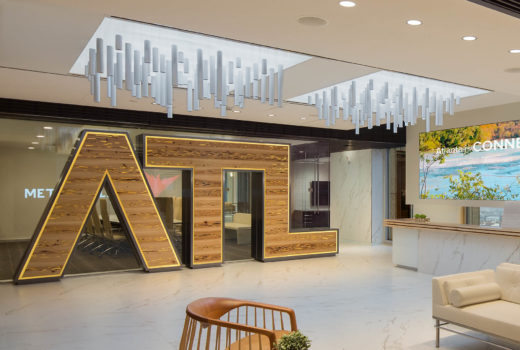 Alluvia® acoustical system installed above ATL Lobby