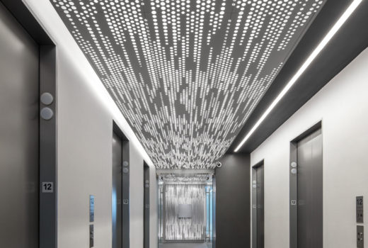 Vapor Trail with backlight installed in elevator lobby.