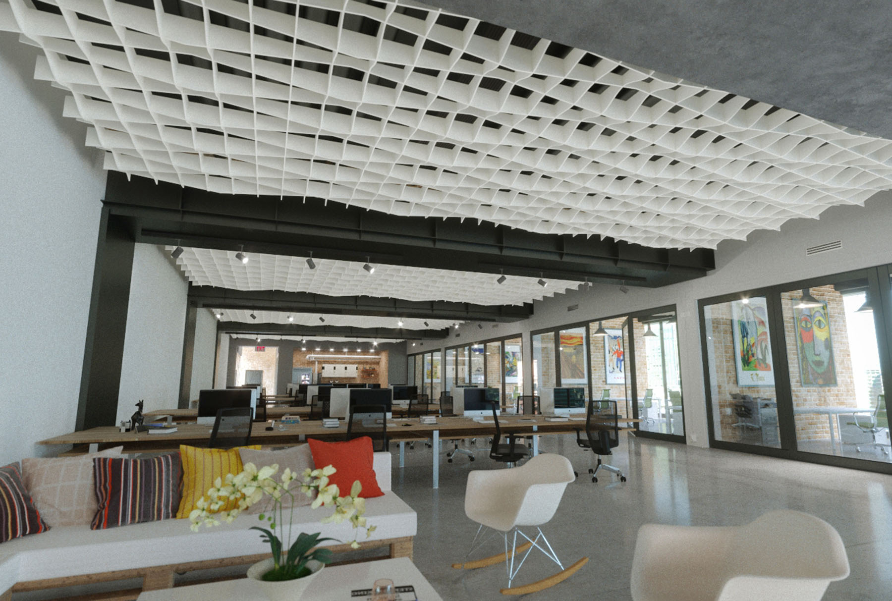SoftGrid® Sine acoustical system installed in office.