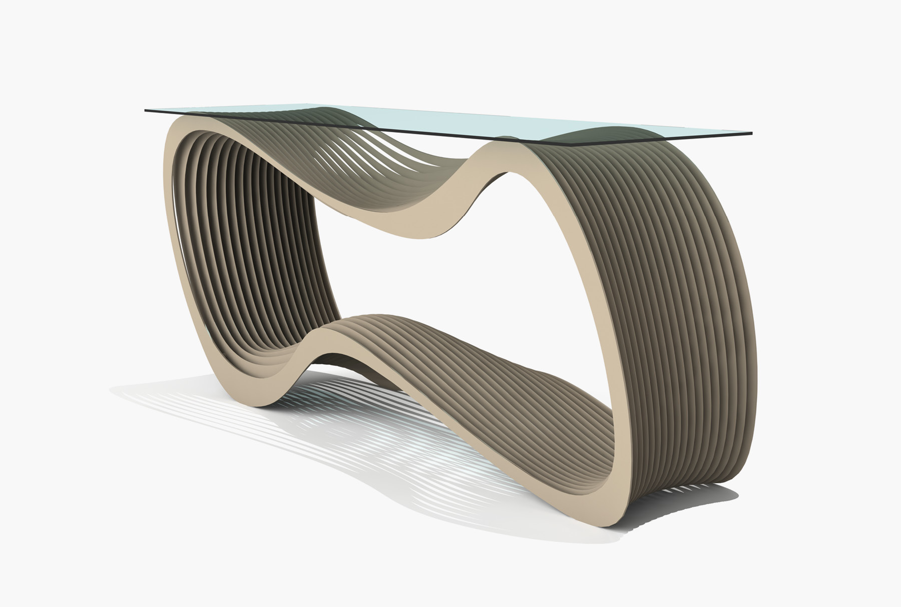 Arktura Loop Console in Chilled Champagne