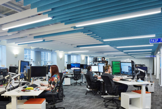 Arktura Atmosphera® Analog with integrated lighting installed in office.