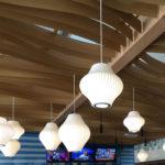 Close up of Arktura Atmosphera® Contour installed James Beach LAX bar
