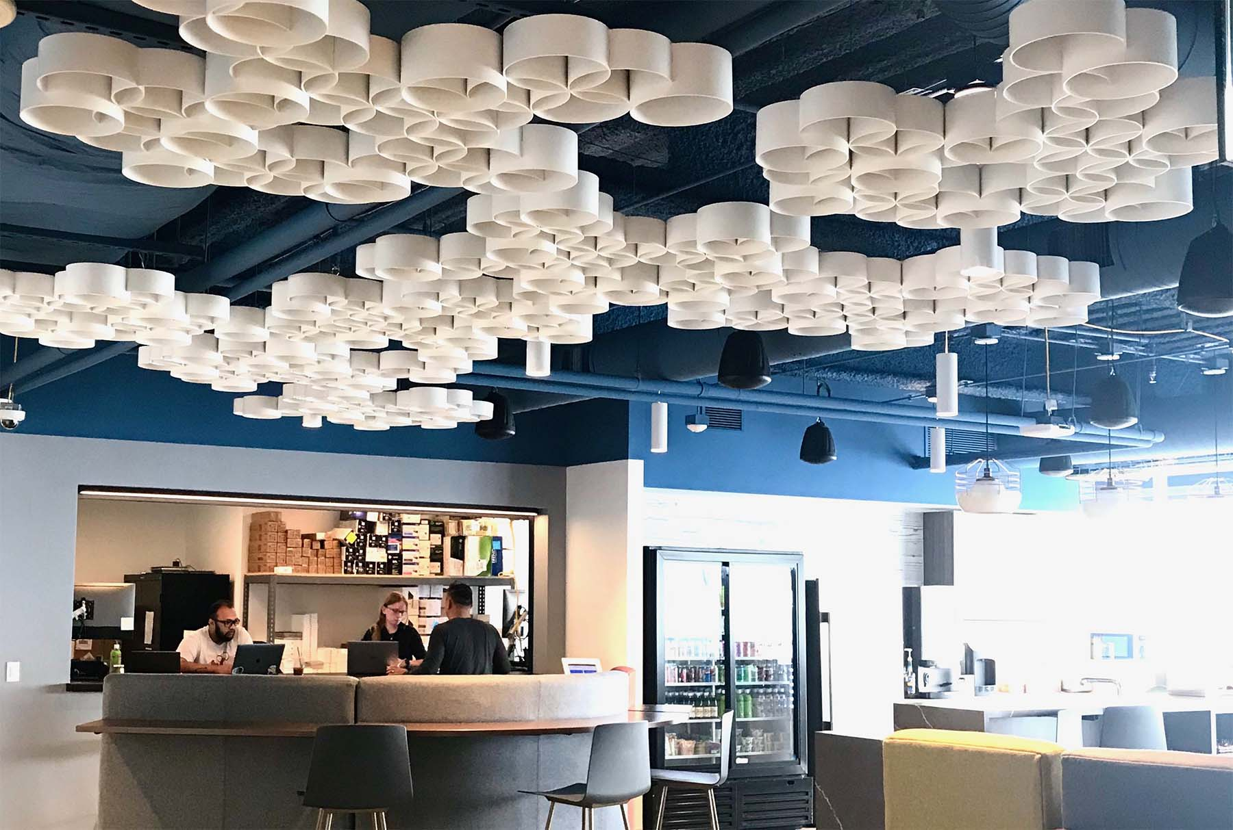 Sphera® ceiling system in white installed in Zillow office.