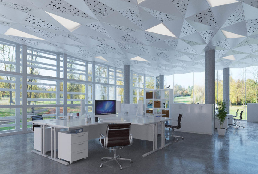 Delta Drop®panels with integrated lighting installed above office space.