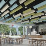 SoundAngle®acoustical system in multiple colors above cafe