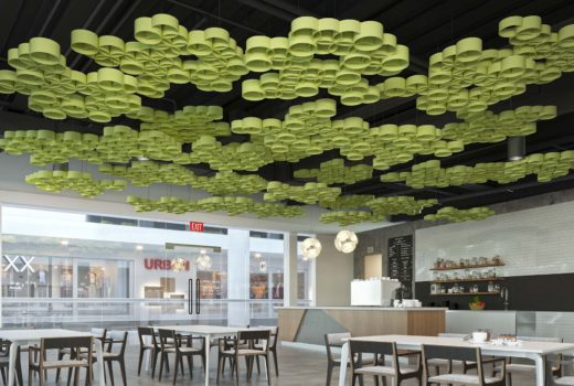 Sphera® ceiling system in green installed in cafe.