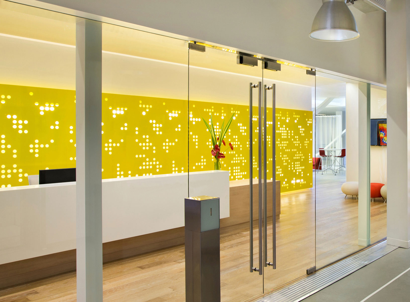 Arktura Graphic Perf® Scripted installed in lobby