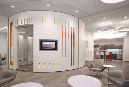 Arktura Solution Studio perforated feature wall for PWC