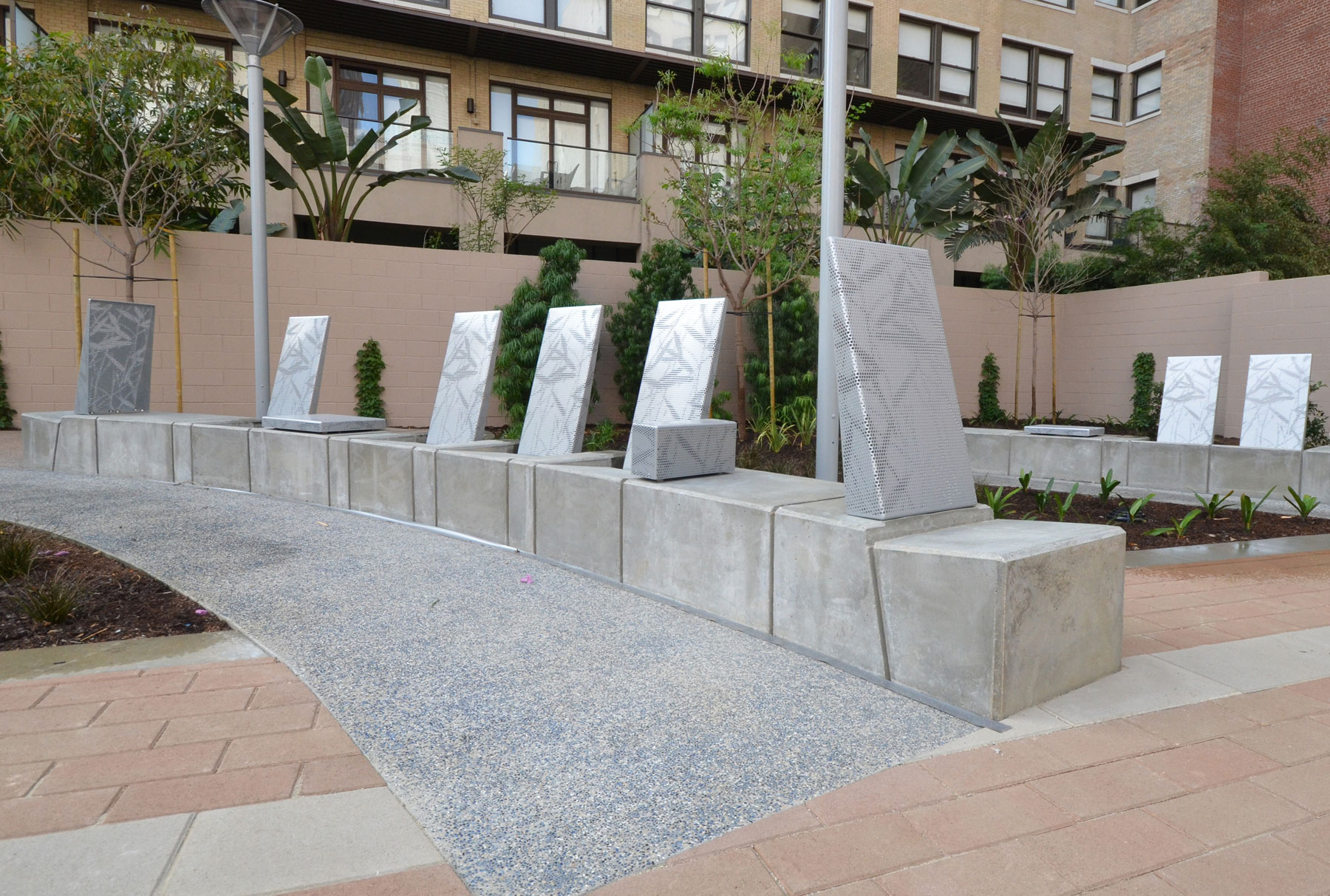 Arktura Solutions Studio perforated bench backs for Spring Street Park