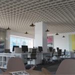 SoftGrid® Slope acoustical system installed in office.