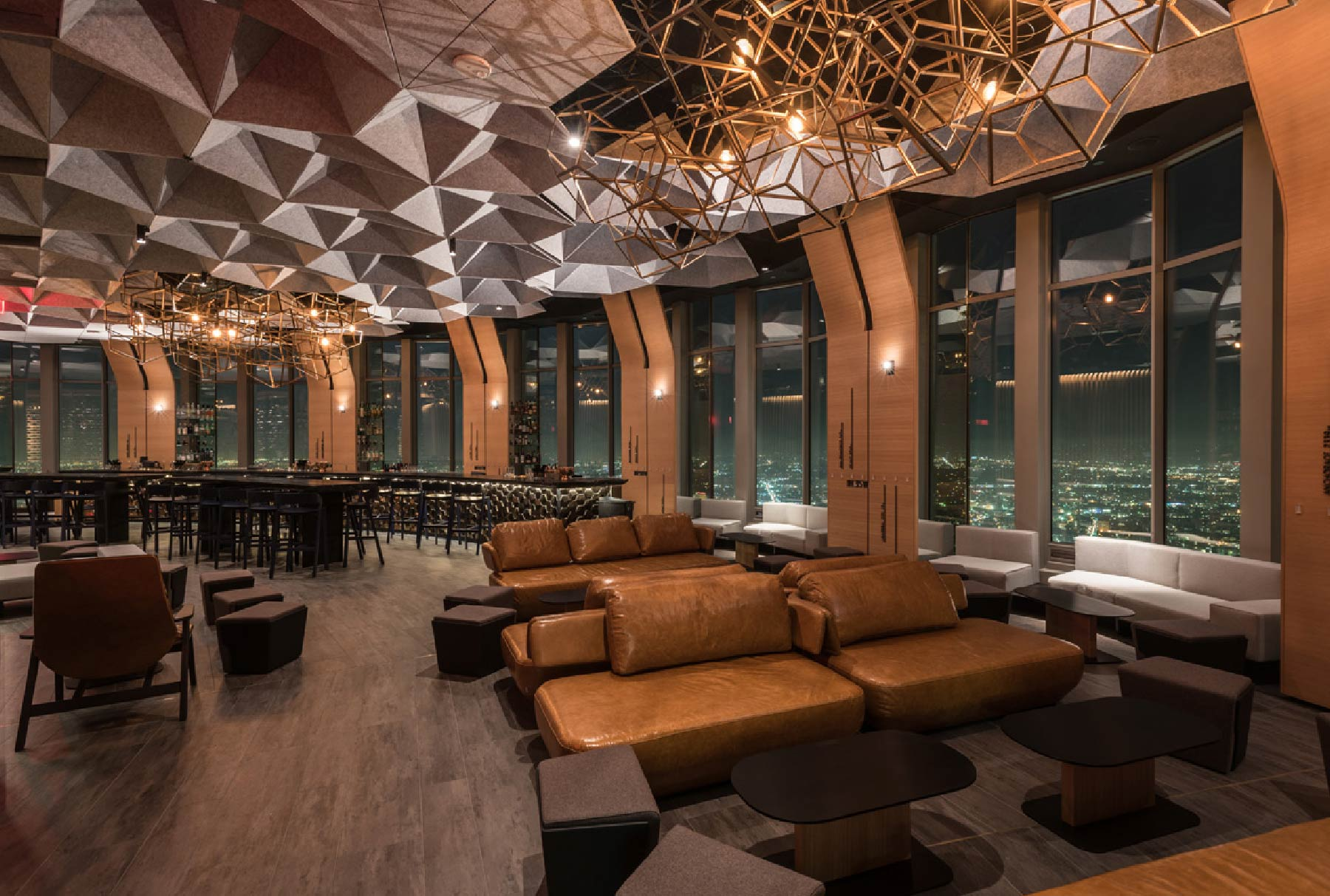 Arktura Solution Studio 71 Above restaurant with a faceted acoustic ceiling system