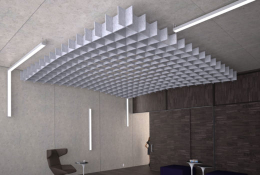 SoftGrid® Slope acoustical system installed in lobby.