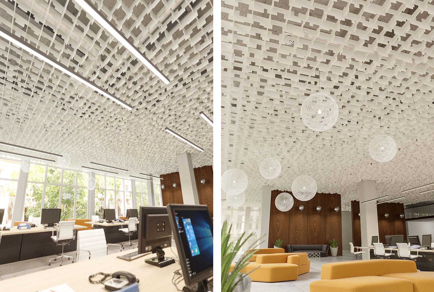 SoftGrid® Skyline acoustical system installed in office.