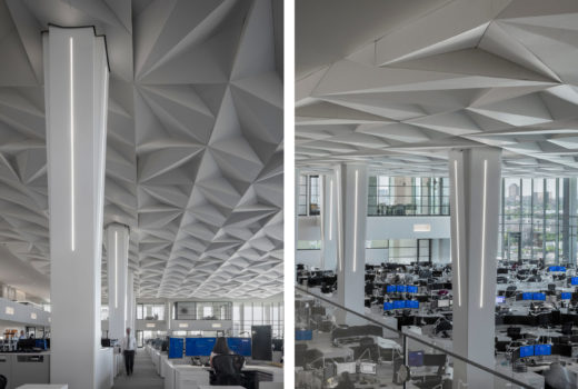 Close ups of Arktura Solutions Studio Vitol faceted ceiling made with Soft Sound
