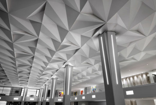 Arktura Solutions Studio Vitol faceted ceiling made with Soft Sound