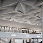 Close up of Arktura Solutions Studio Vitol faceted ceiling made with Soft Sound