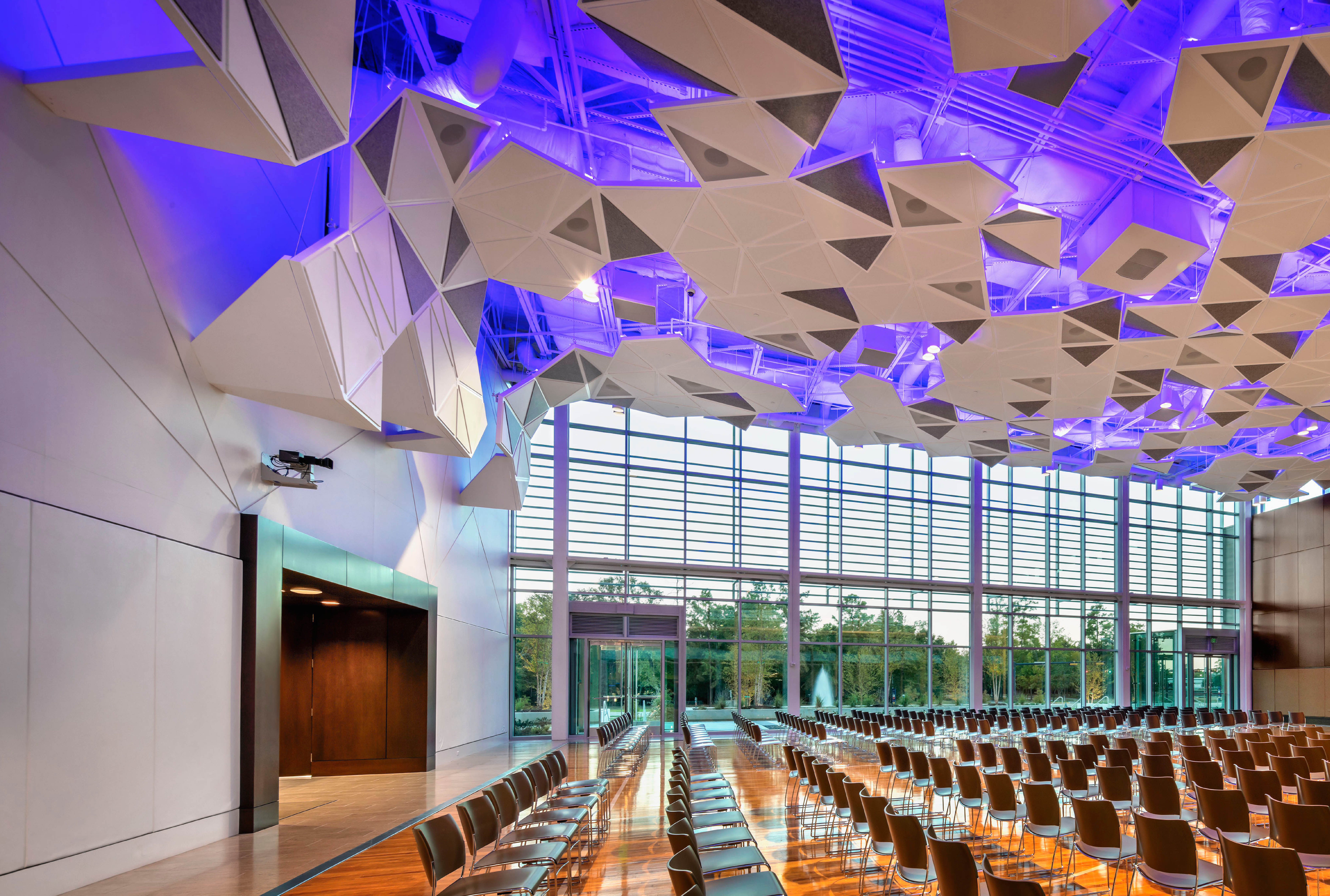 Arktura Solution Studio faceted acoustic ceiling in Town Hall for Noble Energy