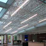 Close up of Arktura Vapor® Cluster Dense installed in Microsoft lobby.