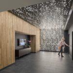 Arktura - Vapor Cluster Sparse installed in hotel elevator lobby.