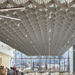 SoftGrid® Wave acoustical system above kitchen/office