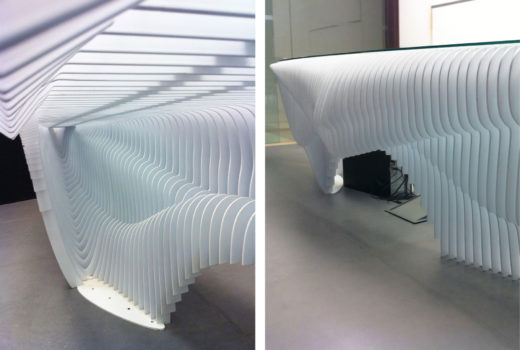 Arktura Solutions Studio Squall organic, ribbed reception desk