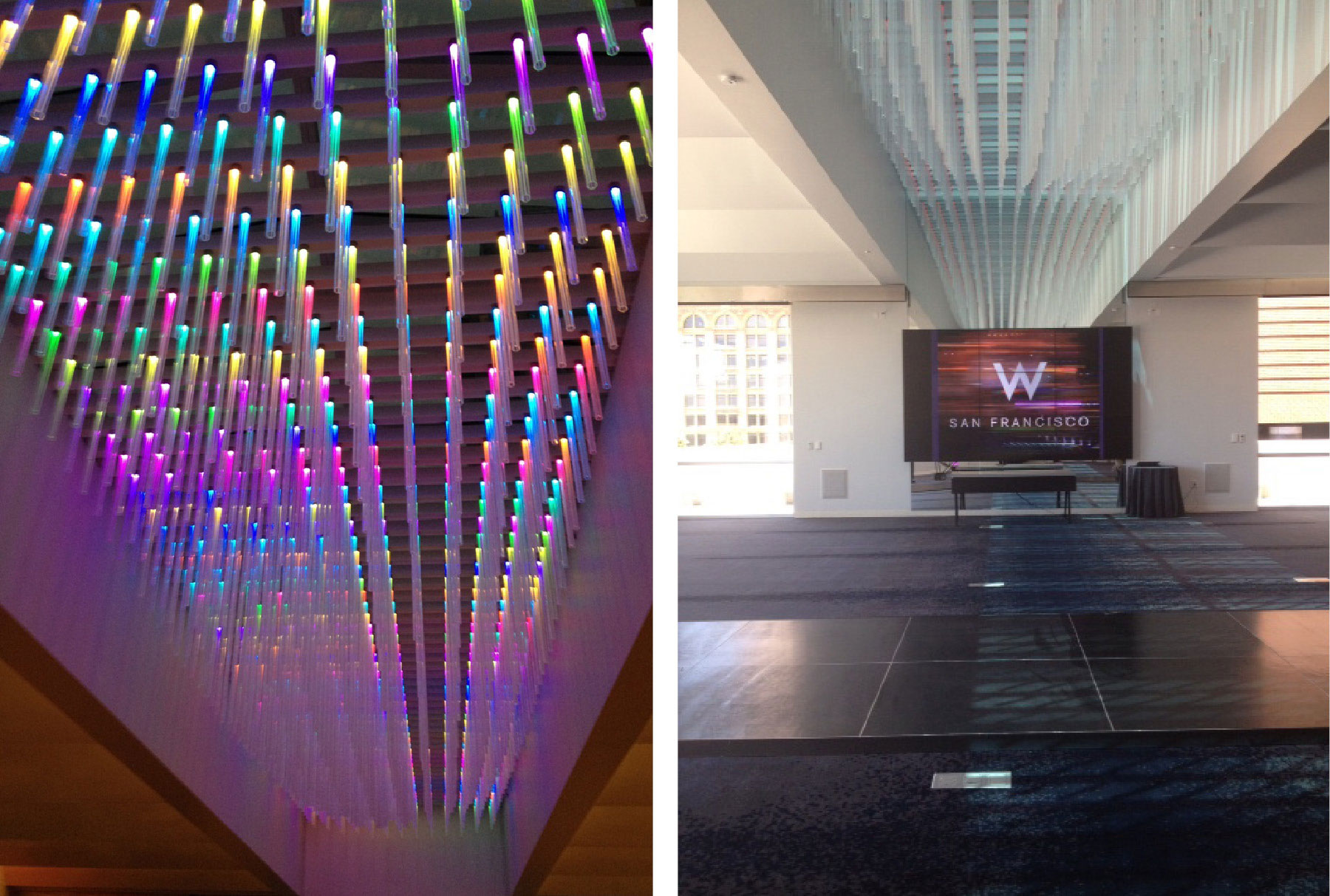 Conference room lighting for W Hotel made with acrylic rods and color changing LEDs by Arktura Solutions Studio