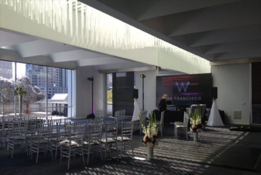 Conference room lighting in W Hotel made with acrylic rods and color changing LEDs by Arktura Solutions Studio