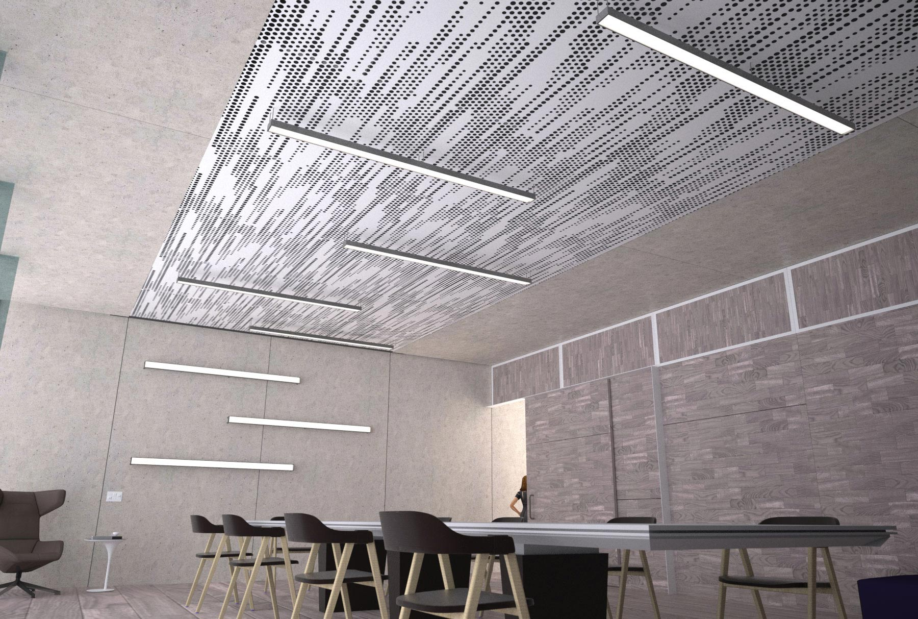 Arktura Vapor Trail with integrated lighting in office.