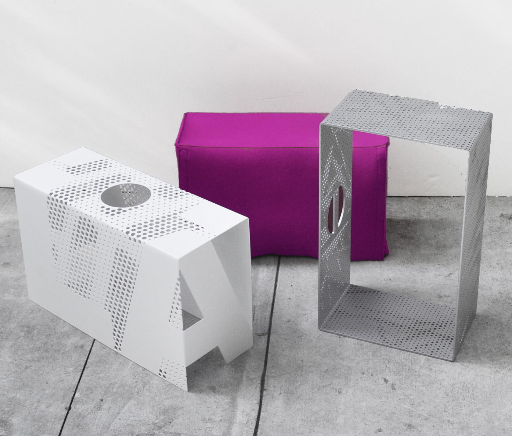 Arktura Solutions Studio perforated metal shrouds for mobile seats for A+D Exhibit in partnership with Lehrer Architects.