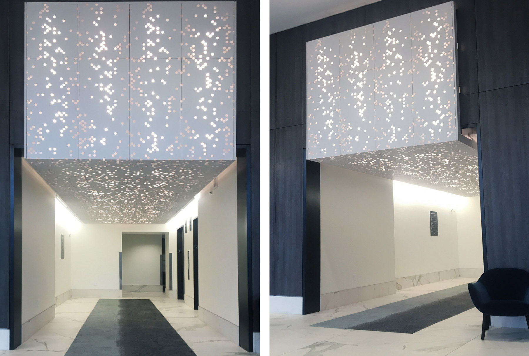 Close ups of Arktura Vapor® Cluster Sparse with frosted backer and backlighting installed at Pacific Center.