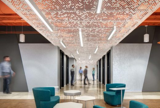 Arktura Vapor® Cluster Dense with integrated lighting installed in elevator lobby.