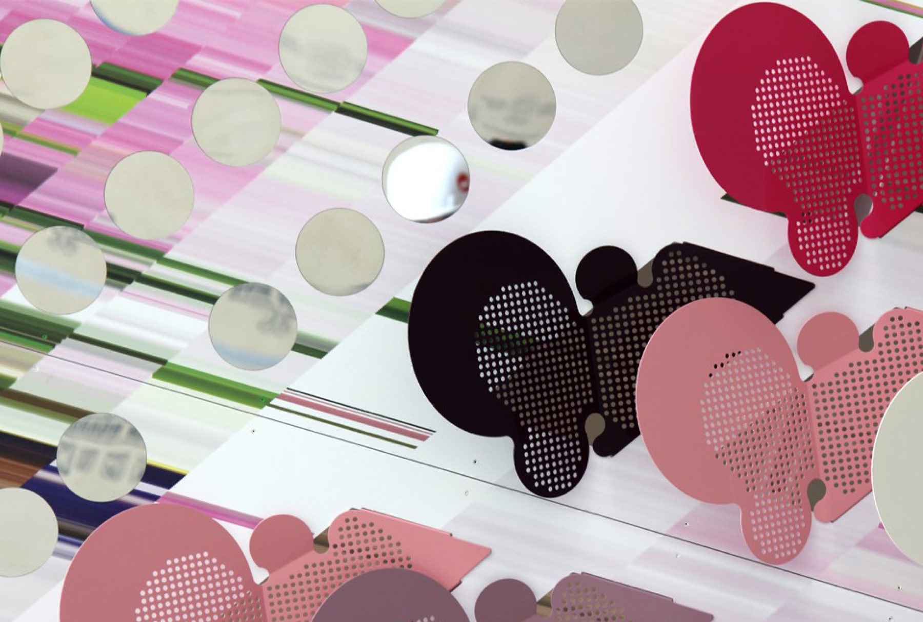 Detail of Inverted Landscapes by Elena Manferdini with Arktura Solutions Studio made of perforated metal panels.