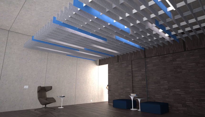 SoftGrid® Square with grey and blue fins installed above lobby.