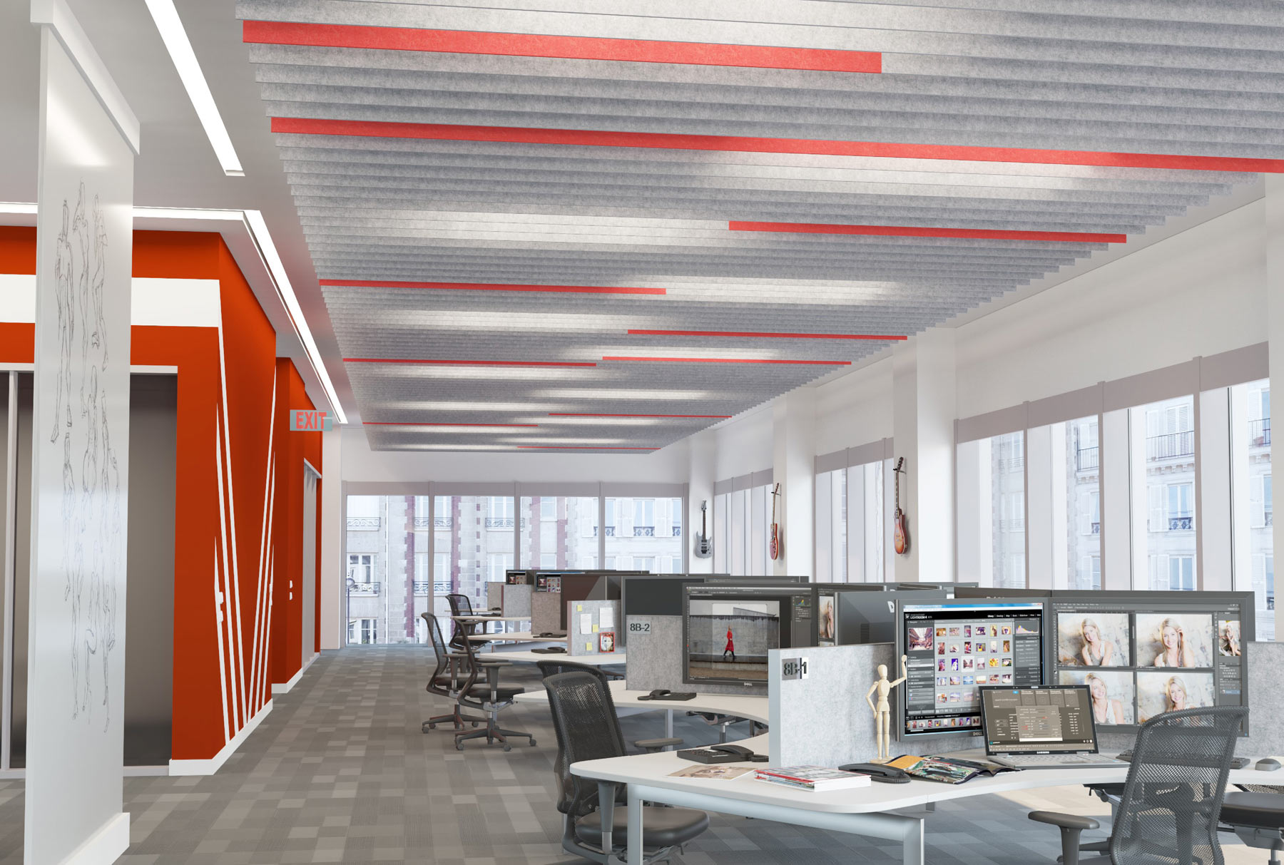 SoftGrid® Square acoustical system installed in office.