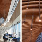 Arktura Atmosphera® Analog 3D installed in Mead Johnson with soft sound wood