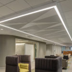 Delta Drop® 2x4 full solid installed above GE Health lobby.