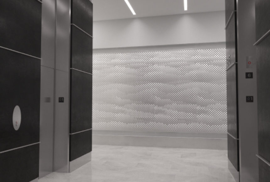 Arktura Graphic Perf® Standard Mist installed in elevator lobby.