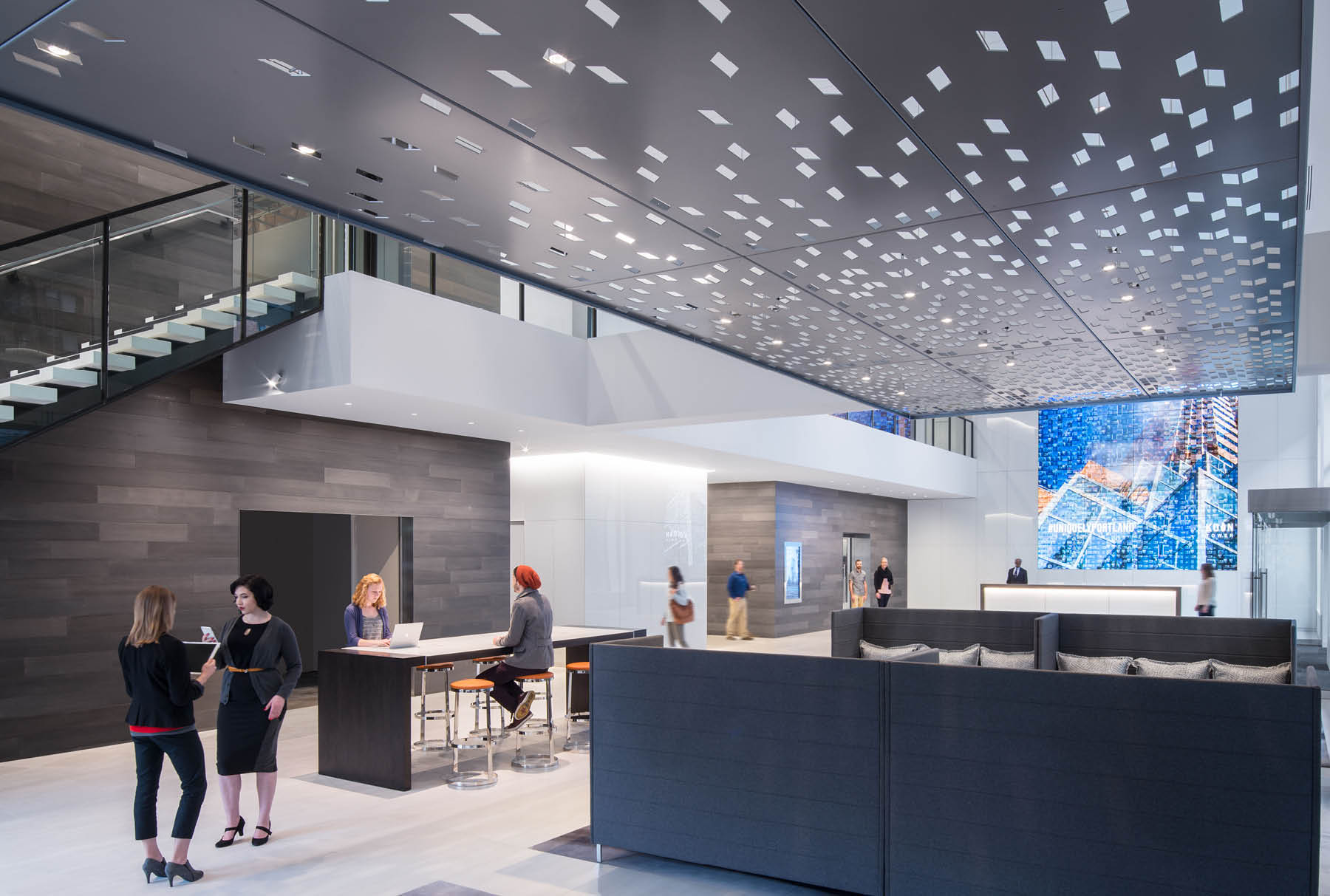 Arktura Solution Studio perforated ceiling panel in Koin Lobby