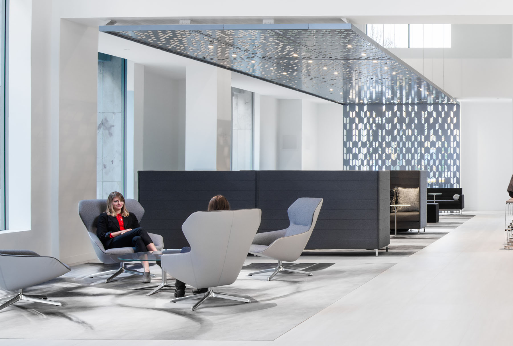 Arktura Solution Studio perforated ceiling and wall panel in Koin Lobby
