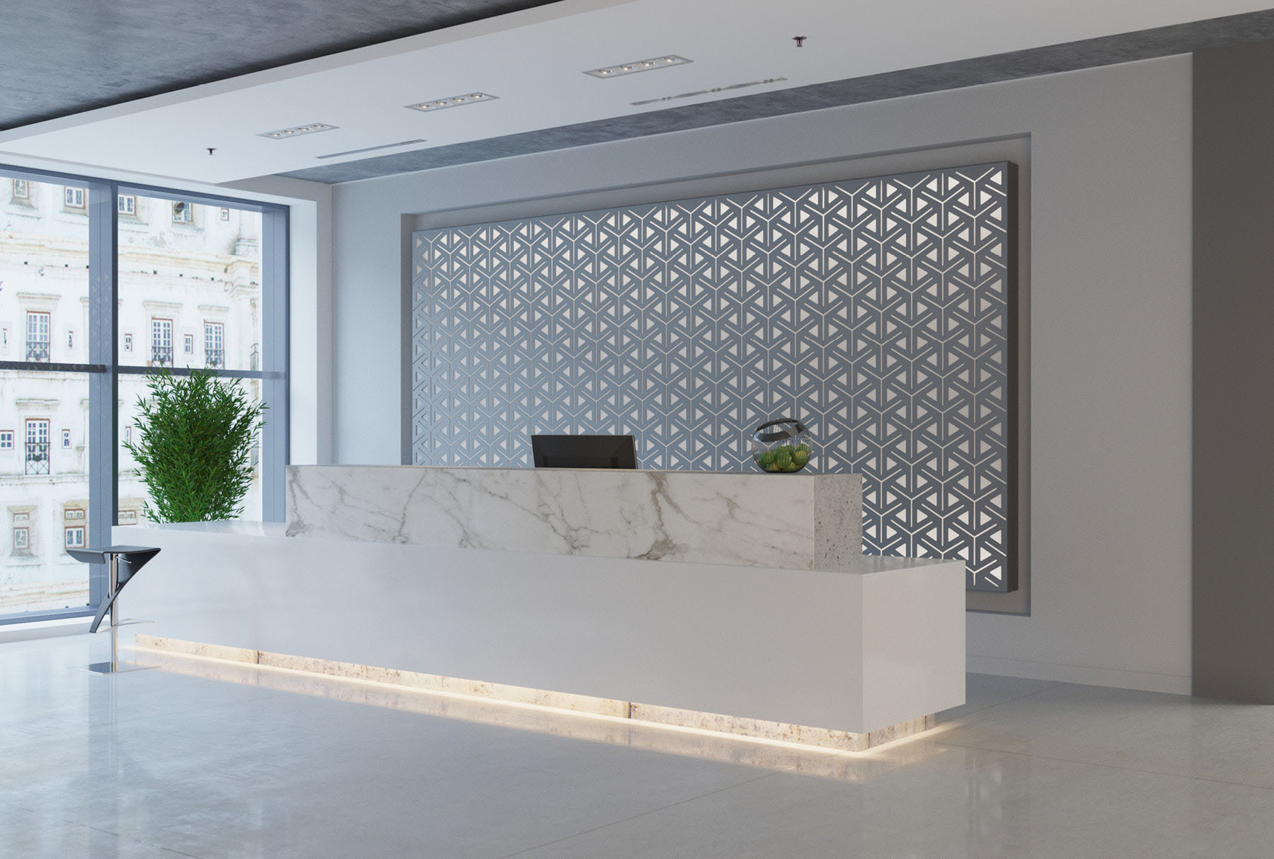 Arktura Graphic Perf® Standard Alcazar installed in office lobby.