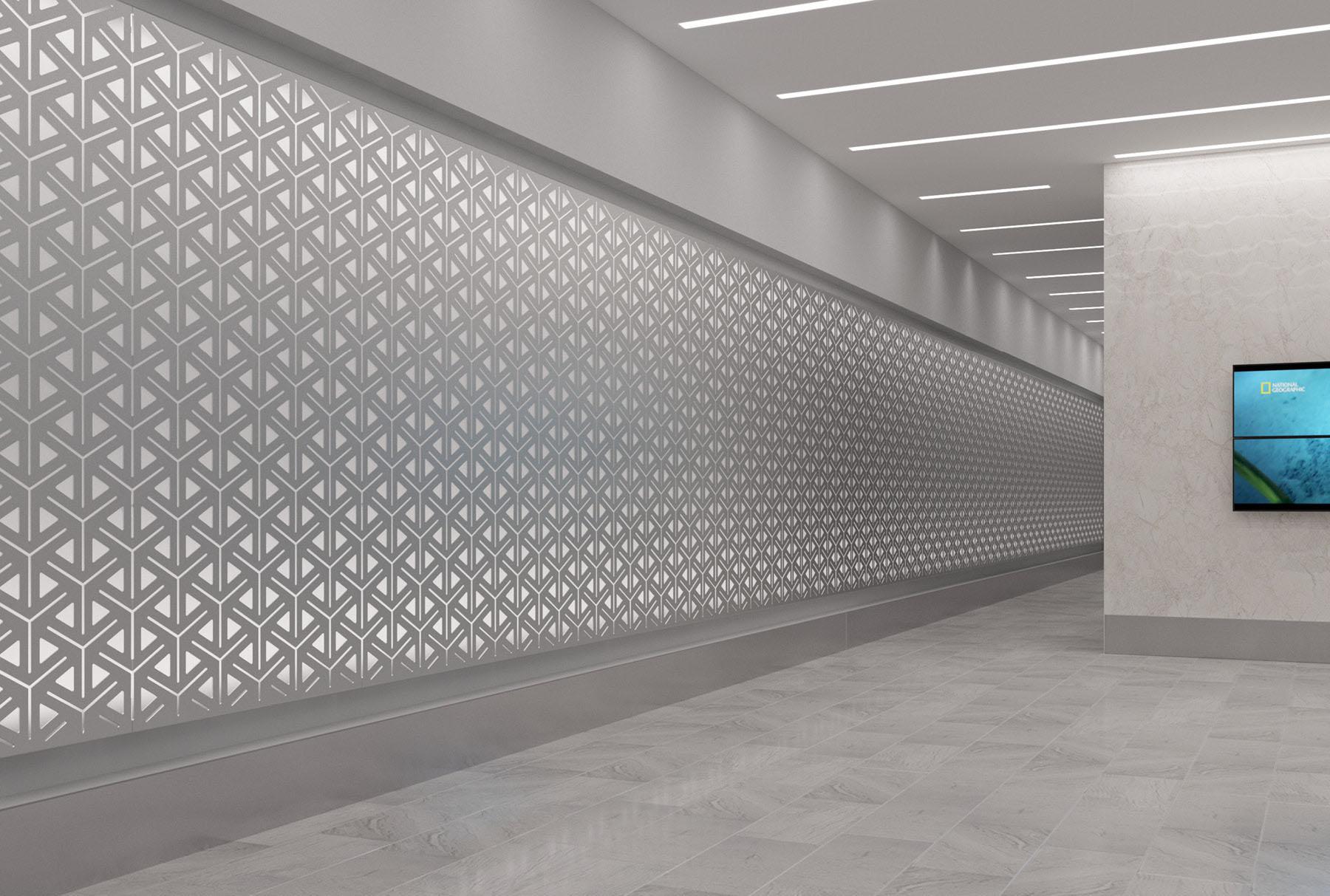 Arktura Graphic Perf® Standard Alcazar installed in hallway.
