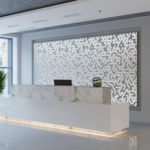 Arktura Graphic Perf® Standard Panels Cora with frosted backer installed in office lobby.
