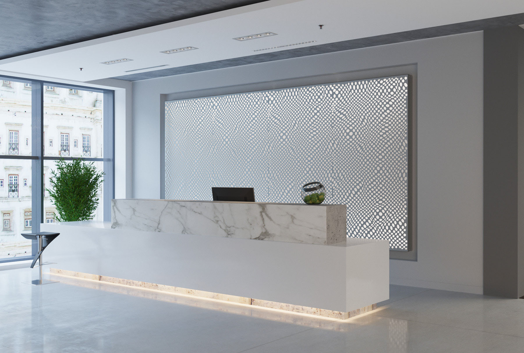 Arktura Graphic Perf® Standard Panels Focus with frosted backer installed in office lobby.