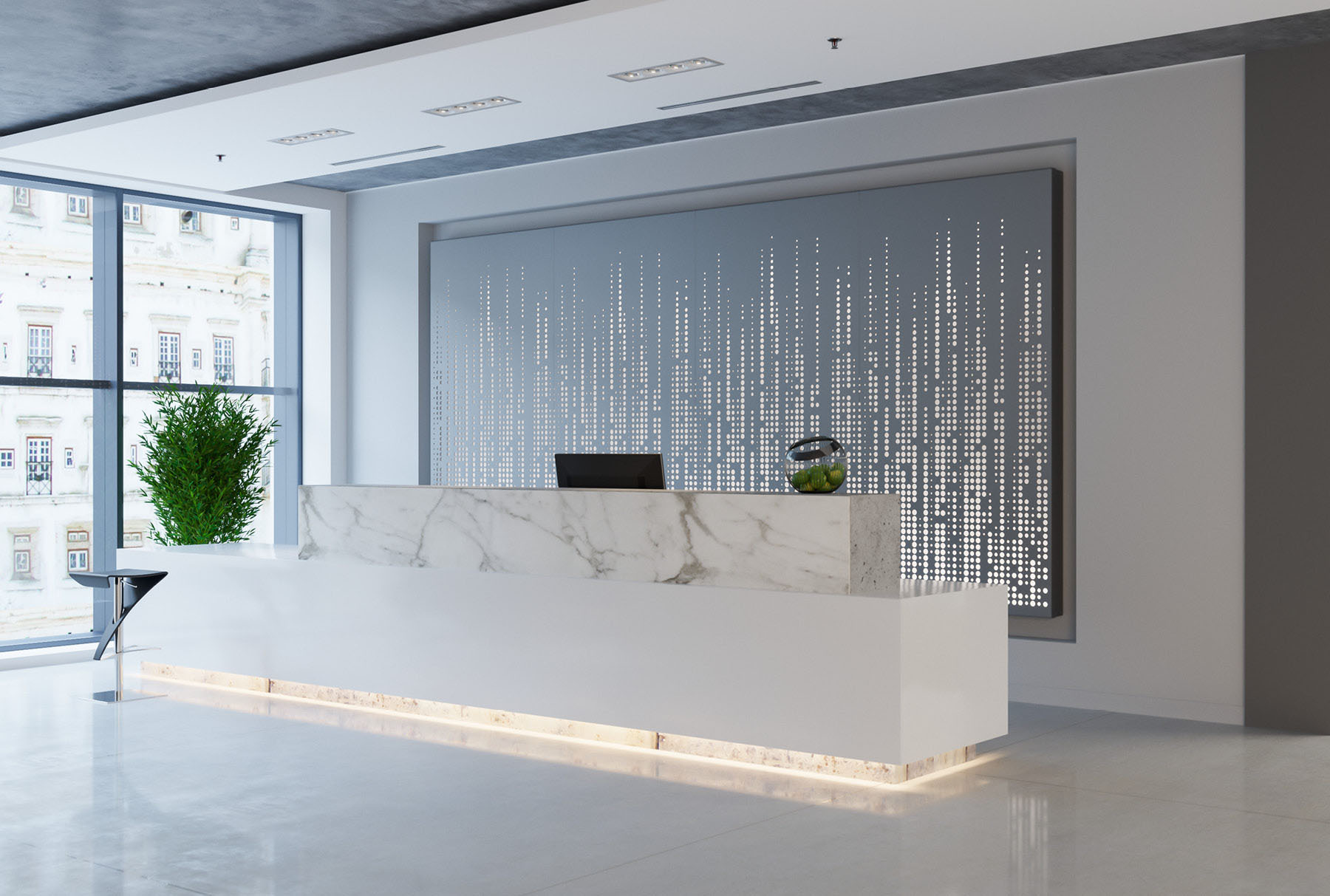 Arktura Graphic Perf® Standard Frequency installed in office lobby.