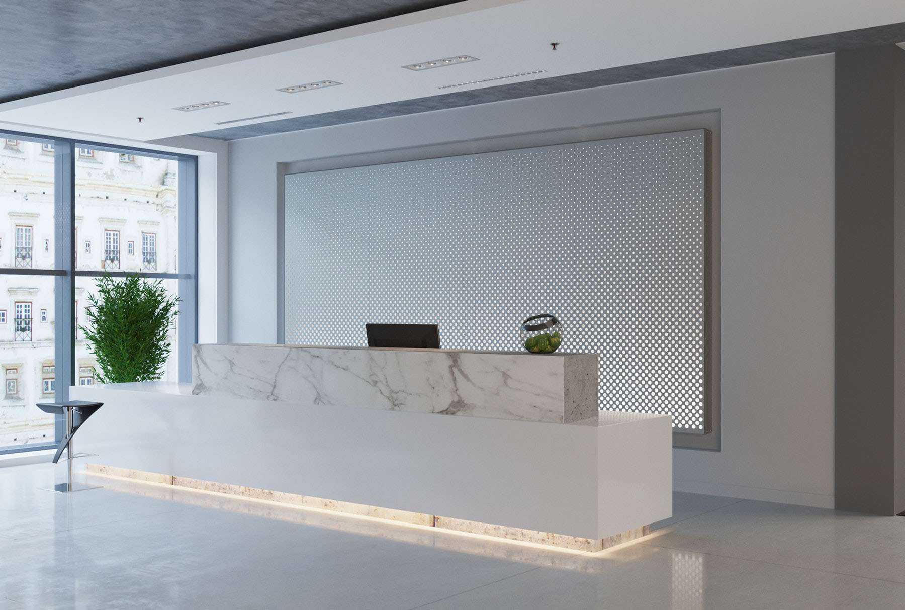 Arktura Graphic Perf® Standard Horizon installed in office lobby.