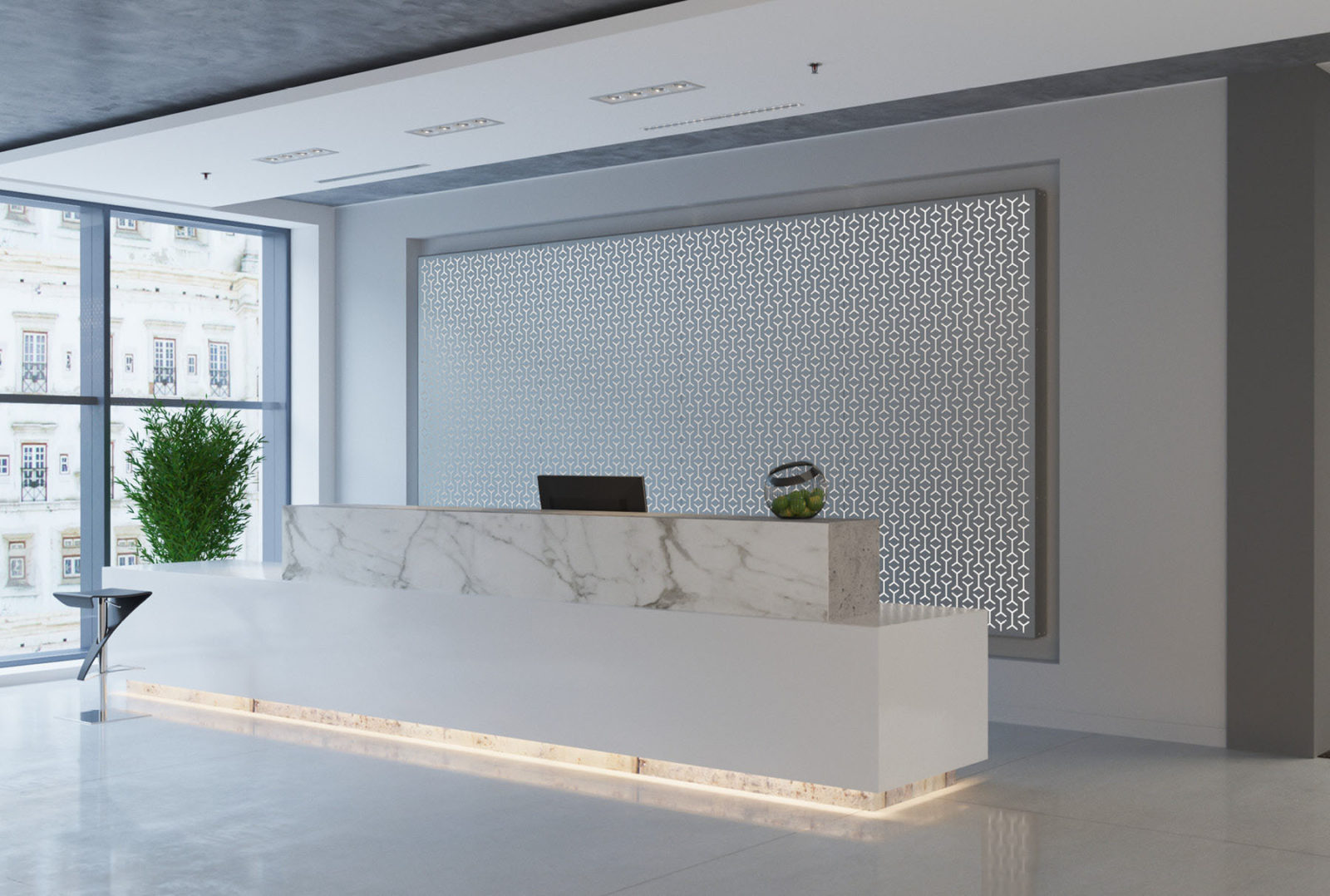 Arktura Graphic Perf® Standard Panels Knit with frosted backer installed in office lobby.