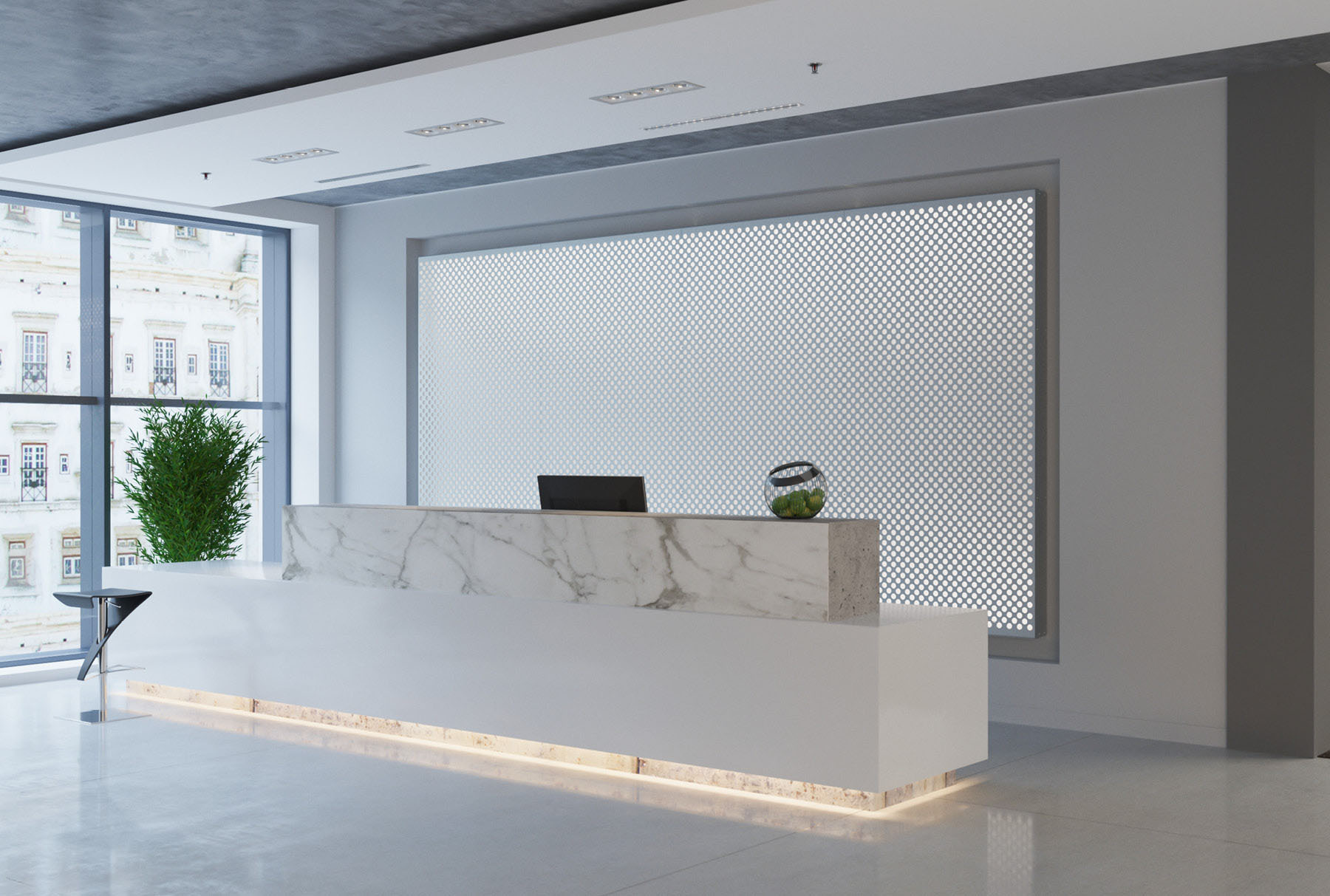 Arktura Graphic Perf® Standard Mesh installed in office lobby.