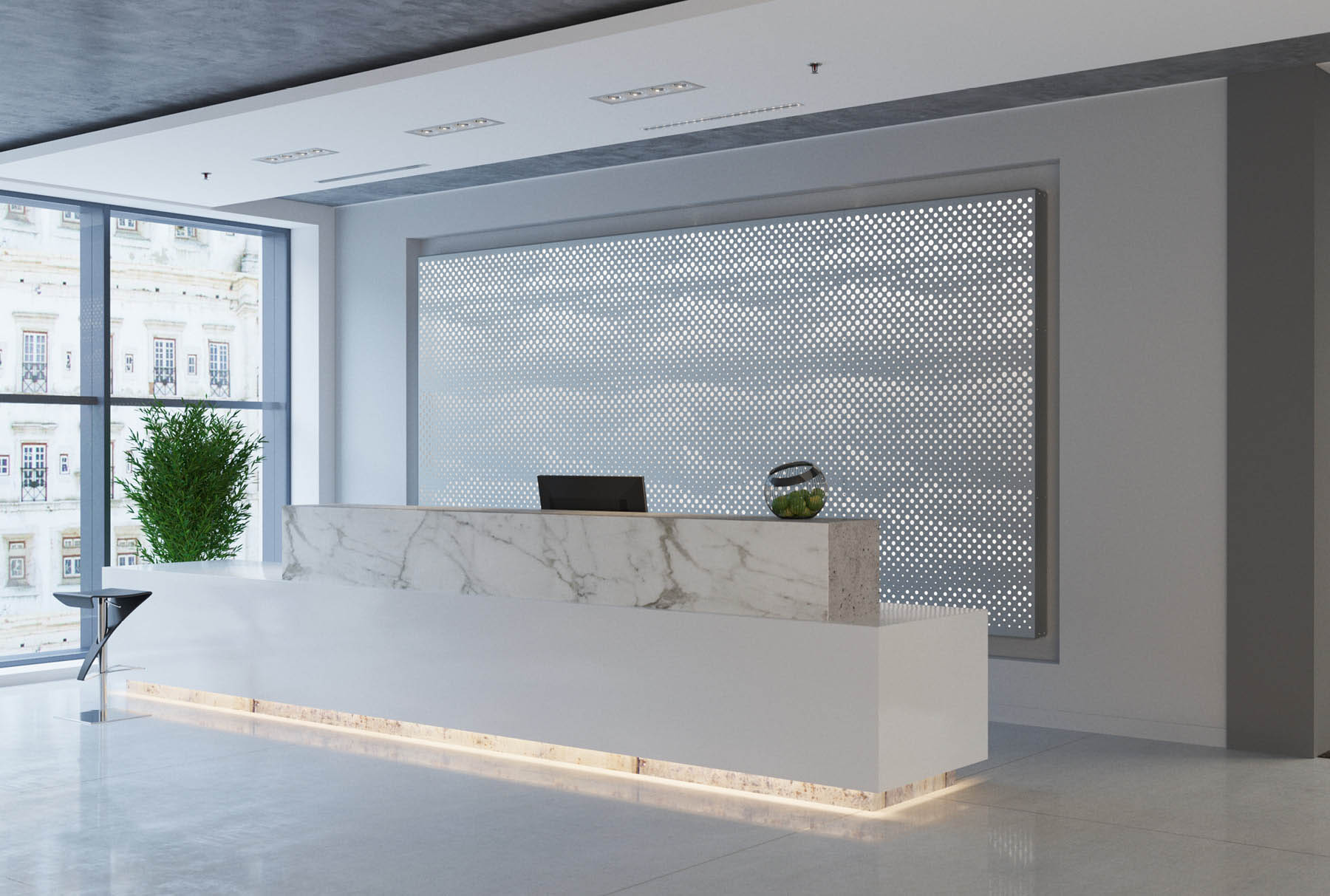 Arktura Graphic Perf® Standard Mist installed in office lobby.