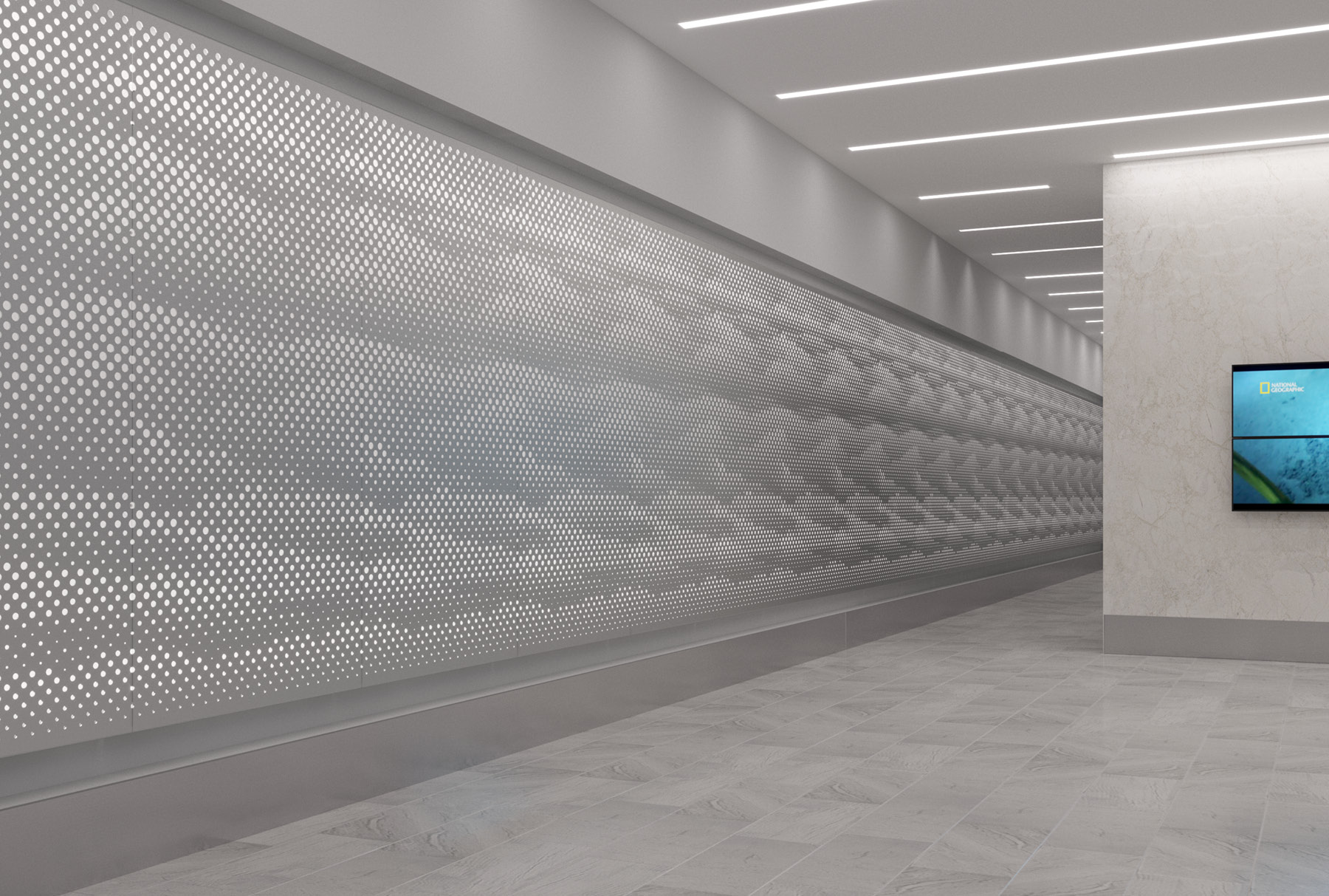 Arktura Graphic Perf® Standard Mist installed in hallway.