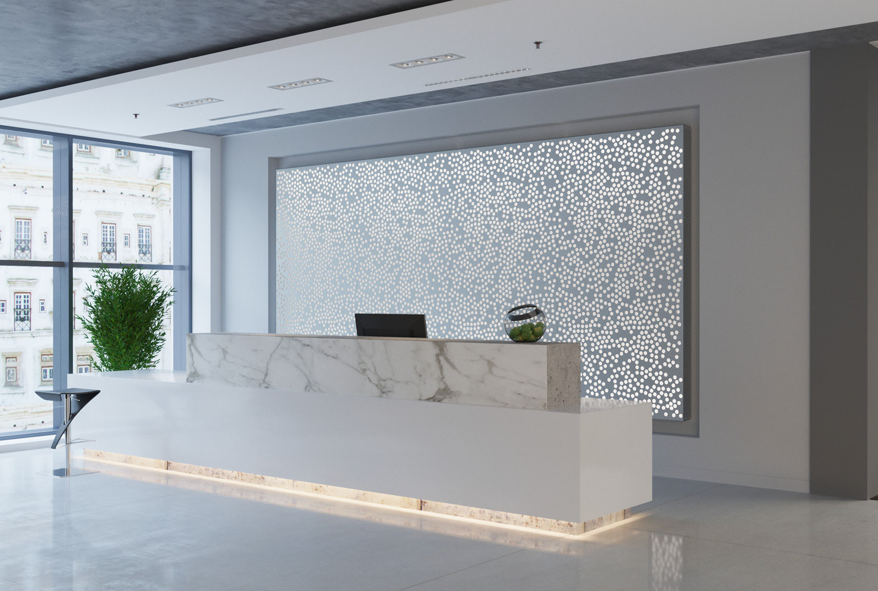 Arktura Graphic Perf® Standard Obscure installed in office lobby